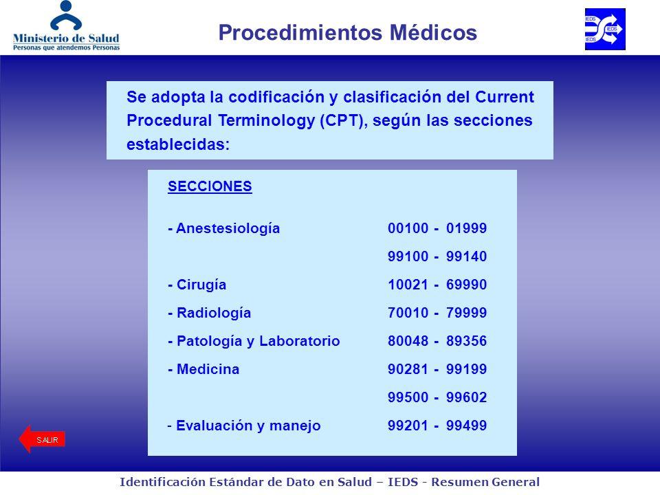 Identificación Estándar de Dato en Salud – IEDS - Resumen General Procedimientos Médicos Se adopta la codificación y clasificación del Current Procedural Terminology (CPT), según las secciones establecidas: SECCIONES - Anestesiología 00100-01999 99100-99140 - Cirugía10021-69990 - Radiología70010-79999 - Patología y Laboratorio80048-89356 - Medicina90281-99199 99500-99602 - Evaluación y manejo99201-99499