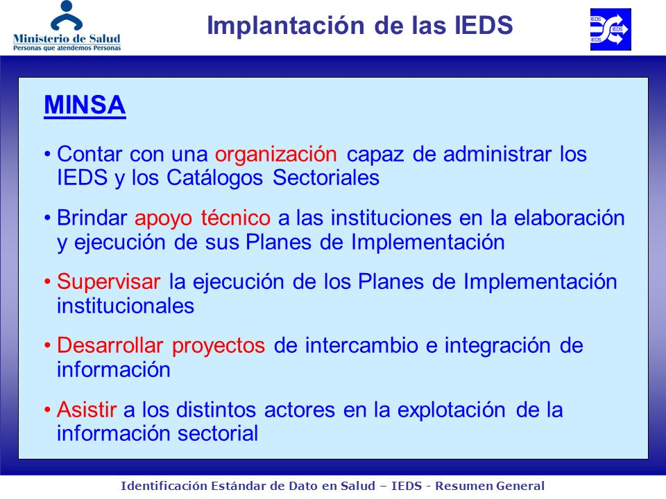 Identificación Estándar de Dato en Salud – IEDS - Resumen General MINSA Contar con una organización capaz de administrar los IEDS y los Catálogos Sect