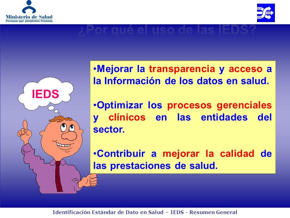 Identificación Estándar de Dato en Salud – IEDS - Resumen General ¿Por qué el uso de las IEDS? Mejorar la transparencia y acceso a la Información de l