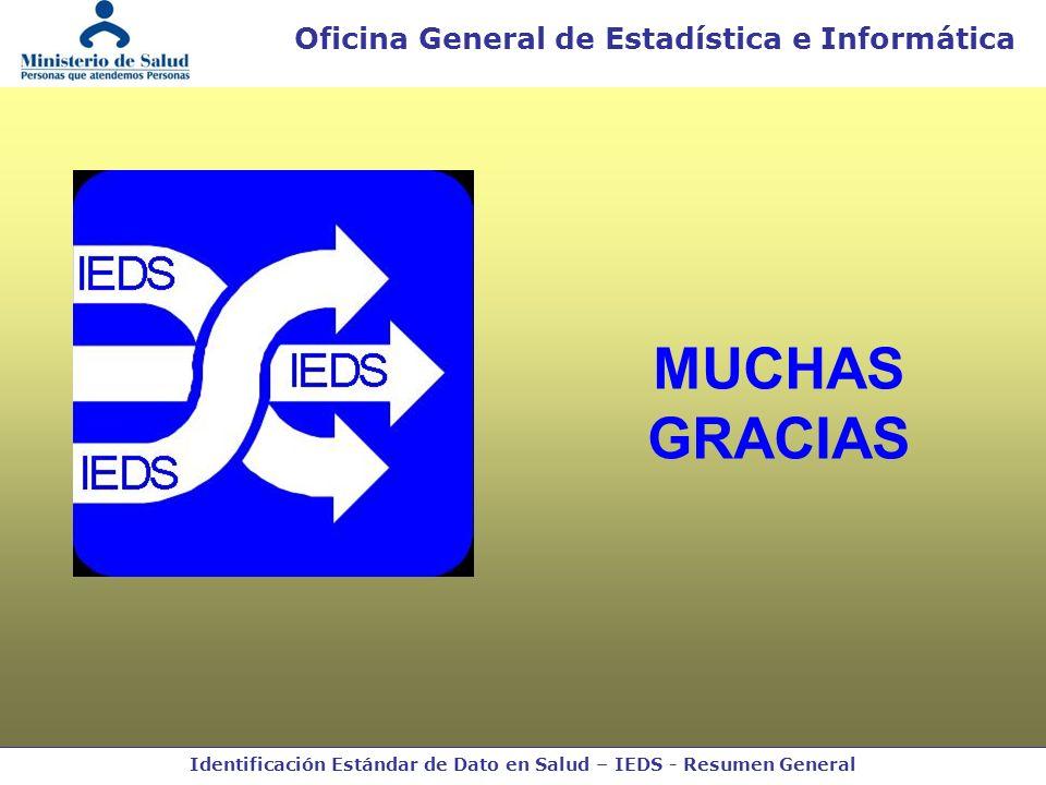 Identificación Estándar de Dato en Salud – IEDS - Resumen General Oficina General de Estadística e Informática MUCHAS GRACIAS