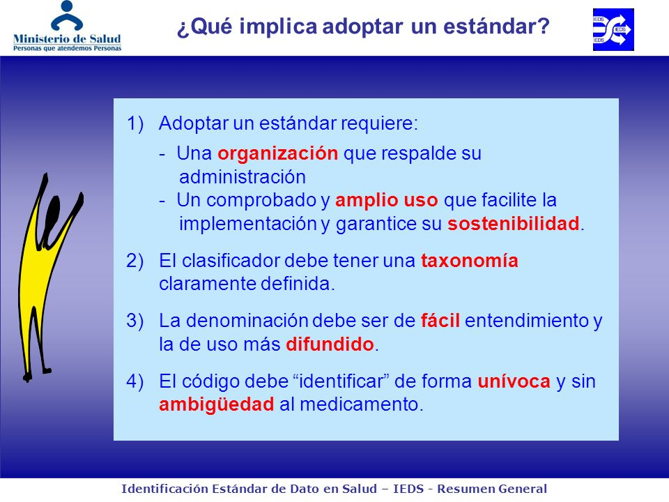 Identificación Estándar de Dato en Salud – IEDS - Resumen General ¿Qué implica adoptar un estándar? 1)Adoptar un estándar requiere: - Una organización