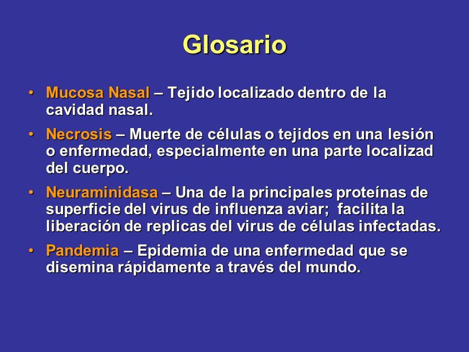 Glosario Mucosa Nasal – Tejido localizado dentro de la cavidad nasal.Mucosa Nasal – Tejido localizado dentro de la cavidad nasal. Necrosis – Muerte de