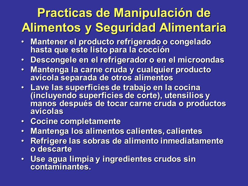 Practicas de Manipulación de Alimentos y Seguridad Alimentaria Mantener el producto refrigerado o congelado hasta que este listo para la cocciónManten
