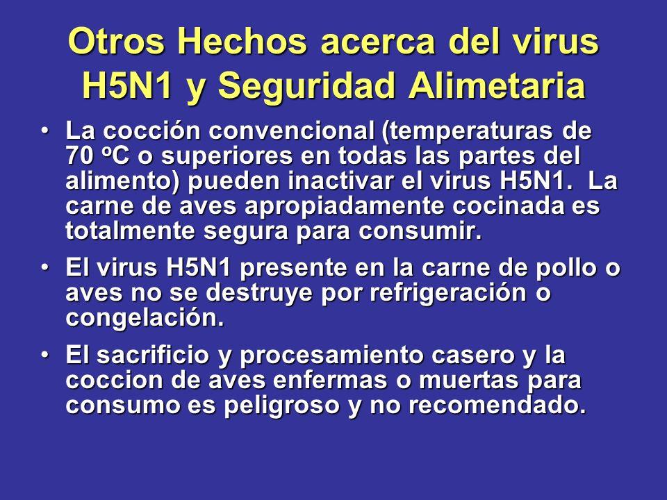 Otros Hechos acerca del virus H5N1 y Seguridad Alimetaria La cocción convencional (temperaturas de 70 o C o superiores en todas las partes del aliment