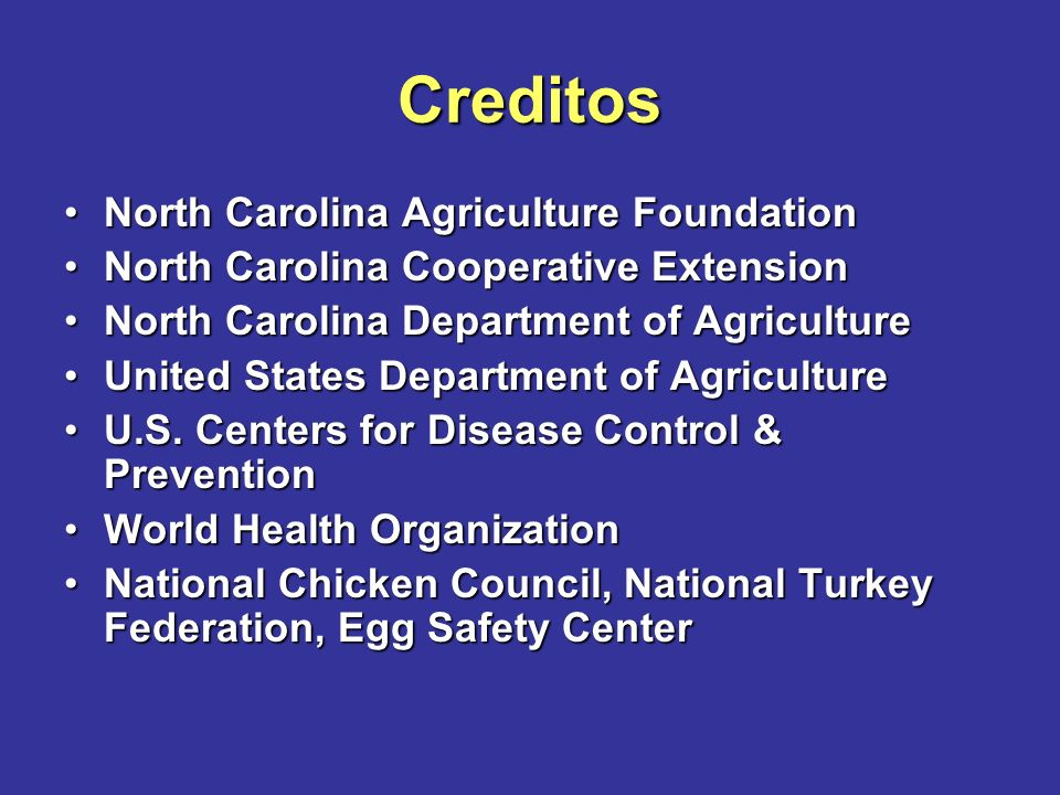 Creditos North Carolina Agriculture FoundationNorth Carolina Agriculture Foundation North Carolina Cooperative ExtensionNorth Carolina Cooperative Extension North Carolina Department of AgricultureNorth Carolina Department of Agriculture United States Department of AgricultureUnited States Department of Agriculture U.S.
