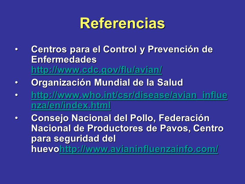 Referencias Departamento de Agricultura de los Estados UnidosDepartamento de Agricultura de los Estados Unidos http://www.usda.gov/wps/portal/usdah ome?navtype=SU&navid=AVIAN_INFL UENZAhttp://www.usda.gov/wps/portal/usdah ome?navtype=SU&navid=AVIAN_INFL UENZAhttp://www.usda.gov/wps/portal/usdah ome?navtype=SU&navid=AVIAN_INFL UENZAhttp://www.usda.gov/wps/portal/usdah ome?navtype=SU&navid=AVIAN_INFL UENZA Departamento de Ciencia Avícola, Universidad de Carolina del Norte http://www.cals.ncsu.edu/poultry/inde x.htmDepartamento de Ciencia Avícola, Universidad de Carolina del Norte http://www.cals.ncsu.edu/poultry/inde x.htm http://www.cals.ncsu.edu/poultry/inde x.htm http://www.cals.ncsu.edu/poultry/inde x.htm