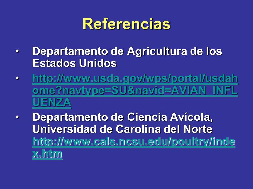 Referencias Servicio de Inspección de Plantas y Animales http://www.aphis.usda.gov/lpa/issues/avian _influenza/index.htmlServicio de Inspección de Plantas y Animales http://www.aphis.usda.gov/lpa/issues/avian _influenza/index.html http://www.aphis.usda.gov/lpa/issues/avian _influenza/index.html http://www.aphis.usda.gov/lpa/issues/avian _influenza/index.html Departamento de Agricultura y Servicio a los Consumidores de Carolina del Norte, División Veterinaria http://www.ncagr.com/vet/index.htmDepartamento de Agricultura y Servicio a los Consumidores de Carolina del Norte, División Veterinaria http://www.ncagr.com/vet/index.htm http://www.ncagr.com/vet/index.htm Departamento de Salud y Servicios Humanos de Carolina del Norte http://www.pandemicflu.gov http://www.pandemicflu.gov