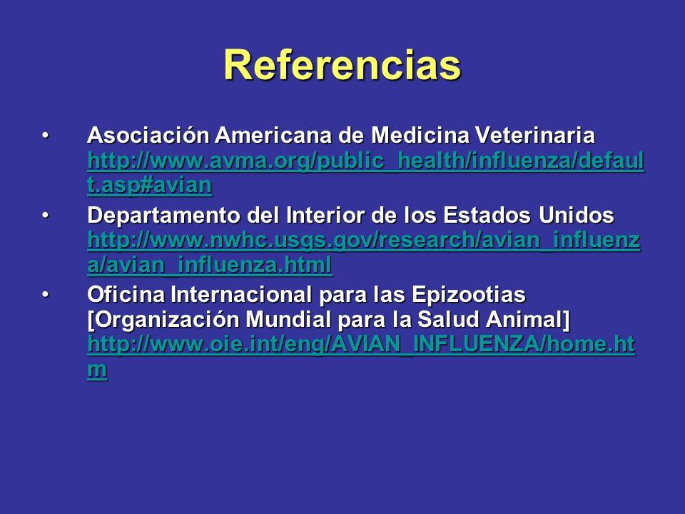 Referencias Asociación Americana de Medicina Veterinaria http://www.avma.org/public_health/influenza/defaul t.asp#avianAsociación Americana de Medicin