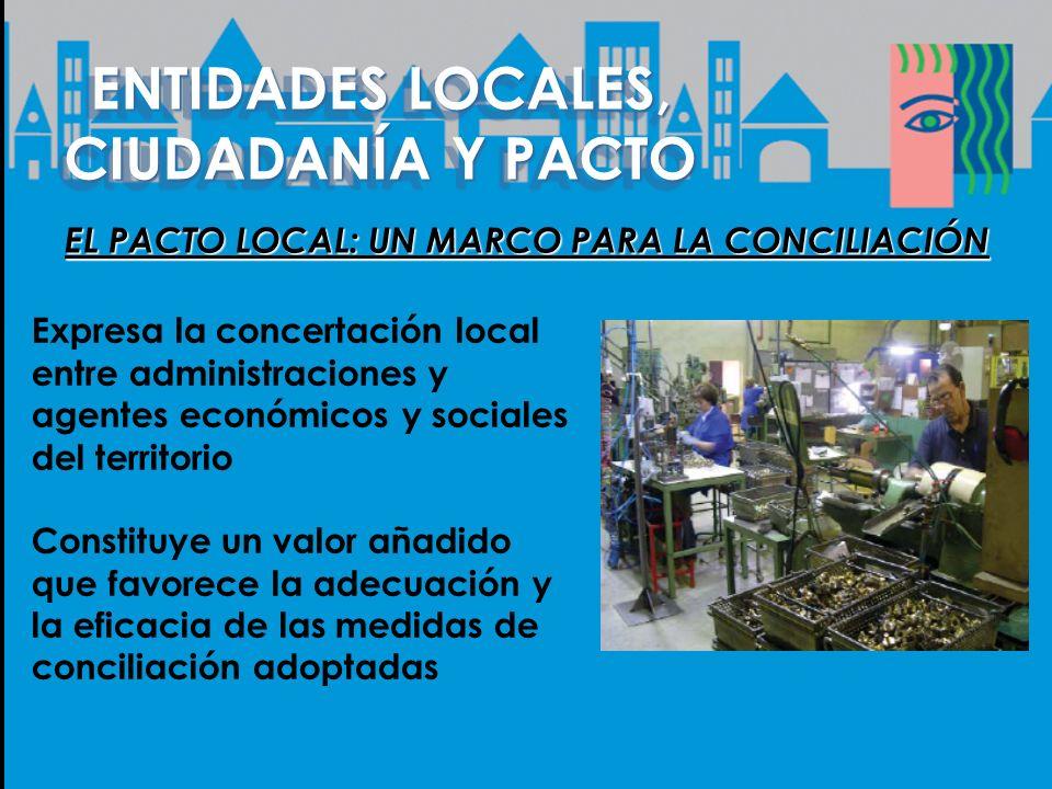 ENTIDADES LOCALES, CIUDADANÍA Y PACTO EL PACTO LOCAL: UN MARCO PARA LA CONCILIACIÓN Expresa la concertación local entre administraciones y agentes eco