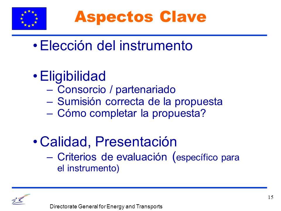 15 Directorate General for Energy and Transports Aspectos Clave Elección del instrumento Eligibilidad –Consorcio / partenariado –Sumisión correcta de la propuesta –Cómo completar la propuesta.