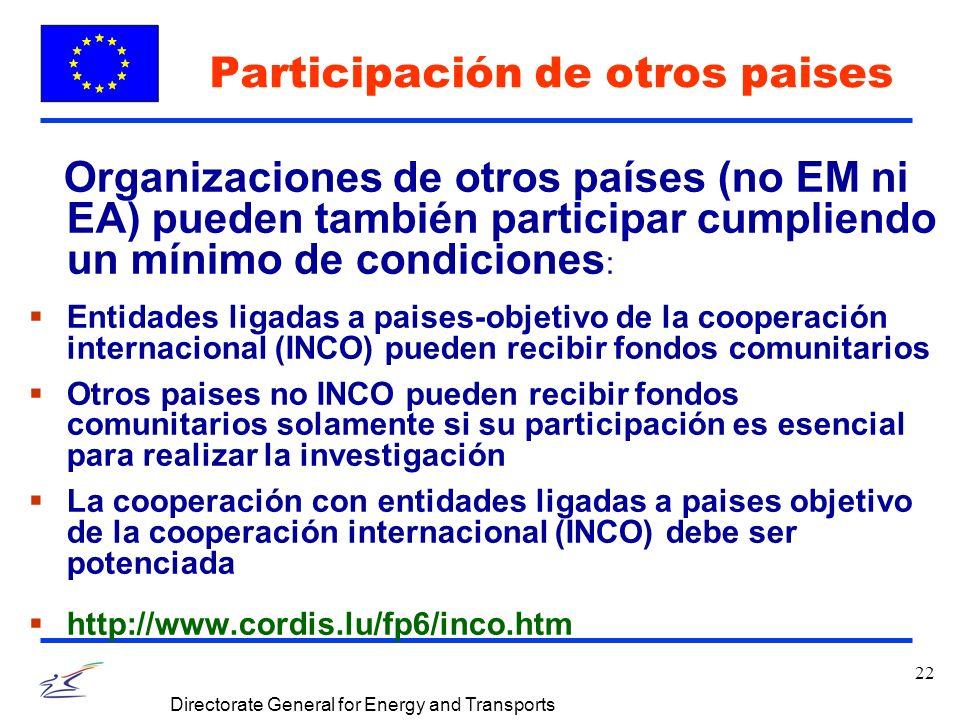 22 Directorate General for Energy and Transports Participación de otros paises Organizaciones de otros países (no EM ni EA) pueden también participar cumpliendo un mínimo de condiciones : Entidades ligadas a paises-objetivo de la cooperación internacional (INCO) pueden recibir fondos comunitarios Otros paises no INCO pueden recibir fondos comunitarios solamente si su participación es esencial para realizar la investigación La cooperación con entidades ligadas a paises objetivo de la cooperación internacional (INCO) debe ser potenciada http://www.cordis.lu/fp6/inco.htm