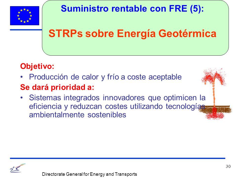 30 Directorate General for Energy and Transports Suministro rentable con FRE (5): STRPs sobre Energía Geotérmica Objetivo: Producción de calor y frío a coste aceptable Se dará prioridad a: Sistemas integrados innovadores que optimicen la eficiencia y reduzcan costes utilizando tecnologías ambientalmente sostenibles