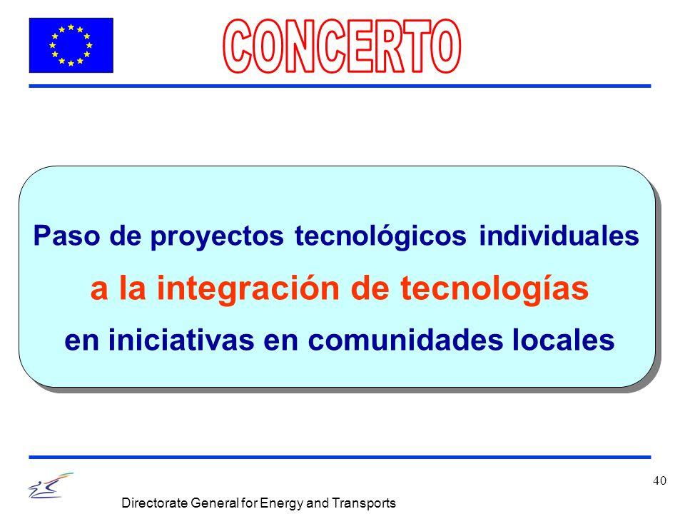 40 Directorate General for Energy and Transports Paso de proyectos tecnológicos individuales a la integración de tecnologías en iniciativas en comunid