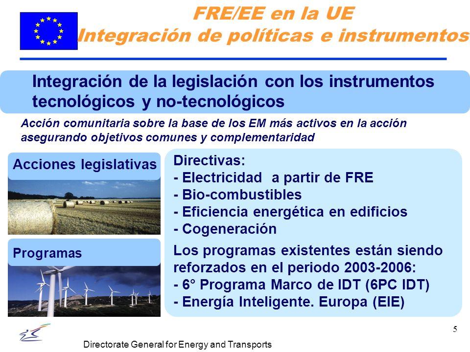 5 Directorate General for Energy and Transports Integración de la legislación con los instrumentos tecnológicos y no-tecnológicos Acción comunitaria sobre la base de los EM más activos en la acción asegurando objetivos comunes y complementaridad Acciones legislativas Programas Directivas: - Electricidad a partir de FRE - Bio-combustibles - Eficiencia energética en edificios - Cogeneración Los programas existentes están siendo reforzados en el periodo 2003-2006: - 6° Programa Marco de IDT (6PC IDT) - Energía Inteligente.