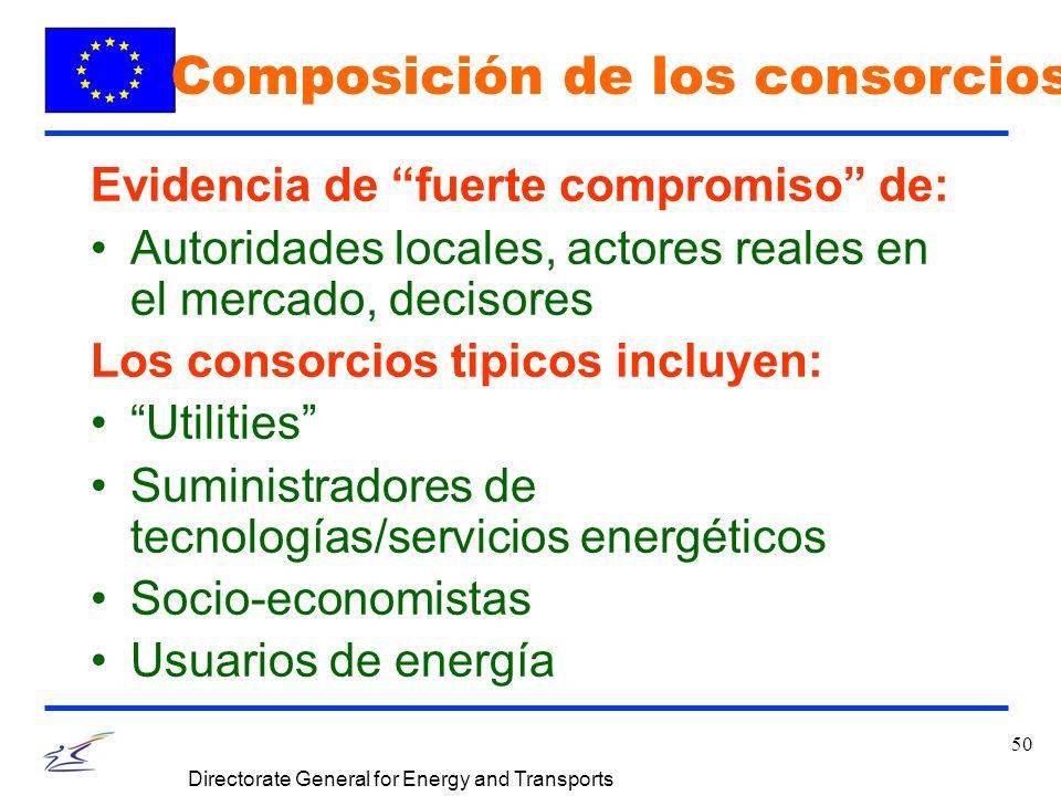 50 Directorate General for Energy and Transports Evidencia de fuerte compromiso de: Autoridades locales, actores reales en el mercado, decisores Los consorcios tipicos incluyen: Utilities Suministradores de tecnologías/servicios energéticos Socio-economistas Usuarios de energía Composición de los consorcios