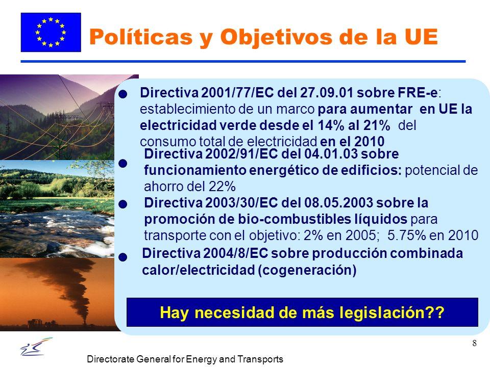 8 Directorate General for Energy and Transports Políticas y Objetivos de la UE Directiva 2004/8/EC sobre producción combinada calor/electricidad (cogeneración) Directiva 2002/91/EC del 04.01.03 sobre funcionamiento energético de edificios: potencial de ahorro del 22% Directiva 2001/77/EC del 27.09.01 sobre FRE-e: establecimiento de un marco para aumentar en UE la electricidad verde desde el 14% al 21% del consumo total de electricidad en el 2010 Directiva 2003/30/EC del 08.05.2003 sobre la promoción de bio-combustibles líquidos para transporte con el objetivo: 2% en 2005; 5.75% en 2010 Hay necesidad de más legislación