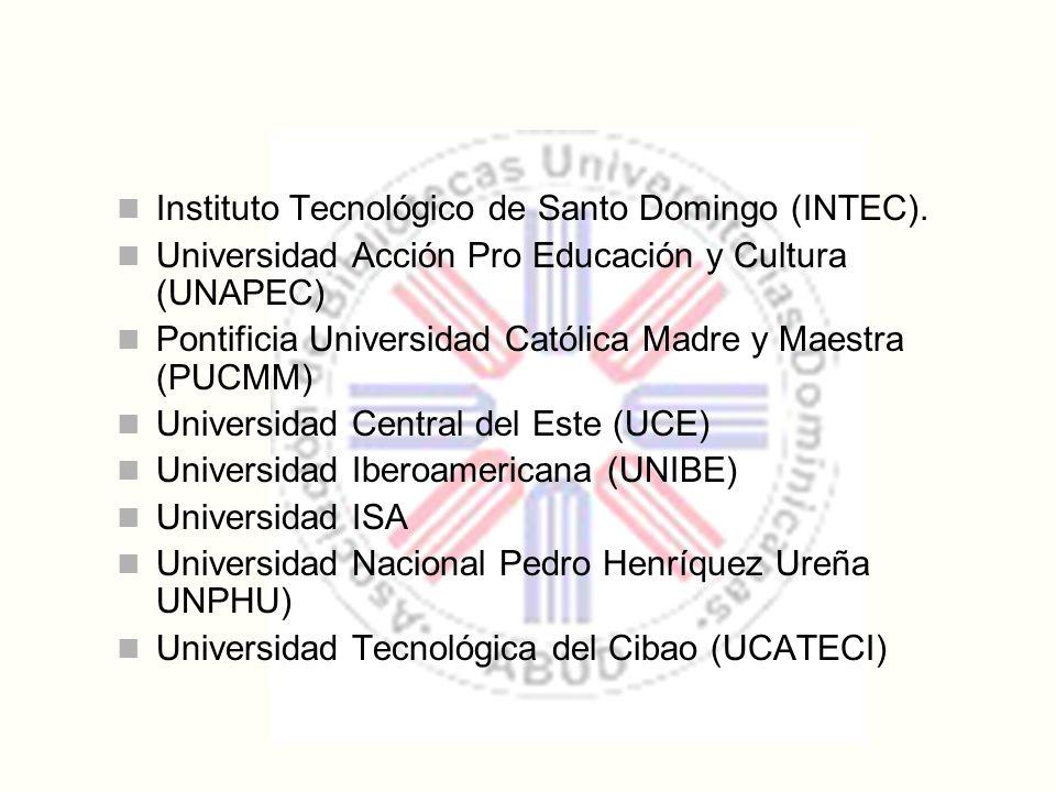Instituto Tecnológico de Santo Domingo (INTEC). Universidad Acción Pro Educación y Cultura (UNAPEC) Pontificia Universidad Católica Madre y Maestra (P