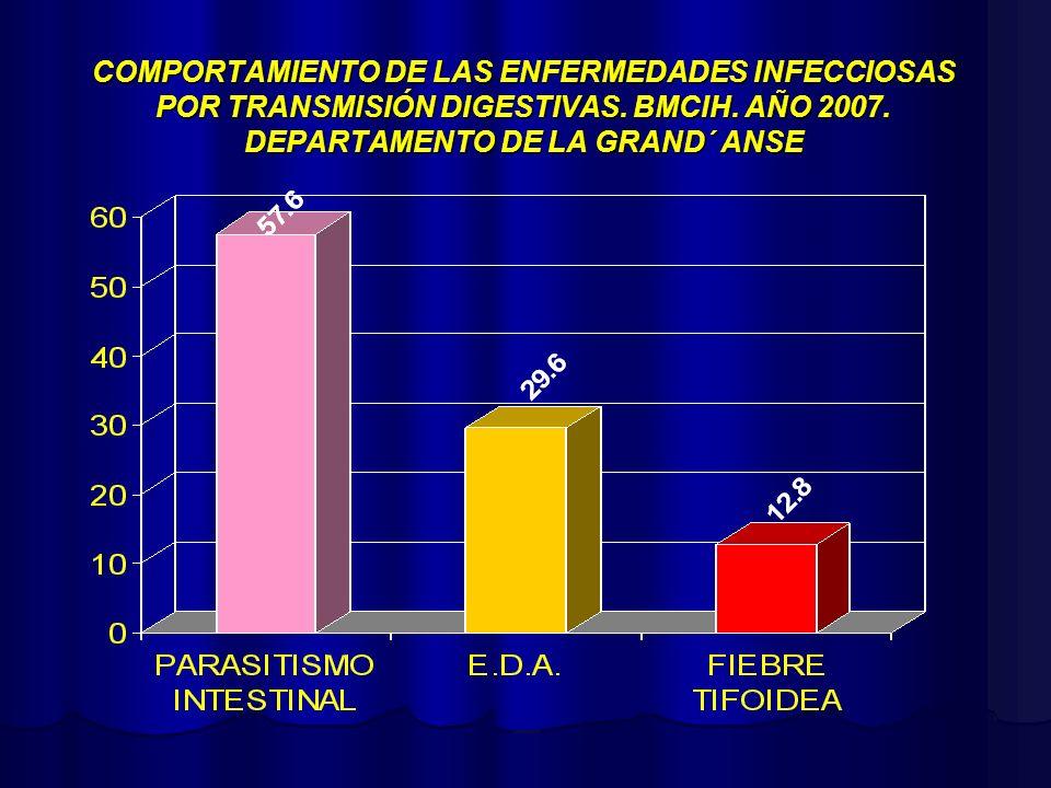 COMPORTAMIENTO DE LAS ENFERMEDADES INFECCIOSAS POR TRANSMISIÓN DIGESTIVAS. BMCIH. AÑO 2007. DEPARTAMENTO DE LA GRAND´ ANSE