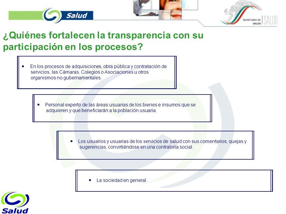 ¿Quiénes fortalecen la transparencia con su participación en los procesos.