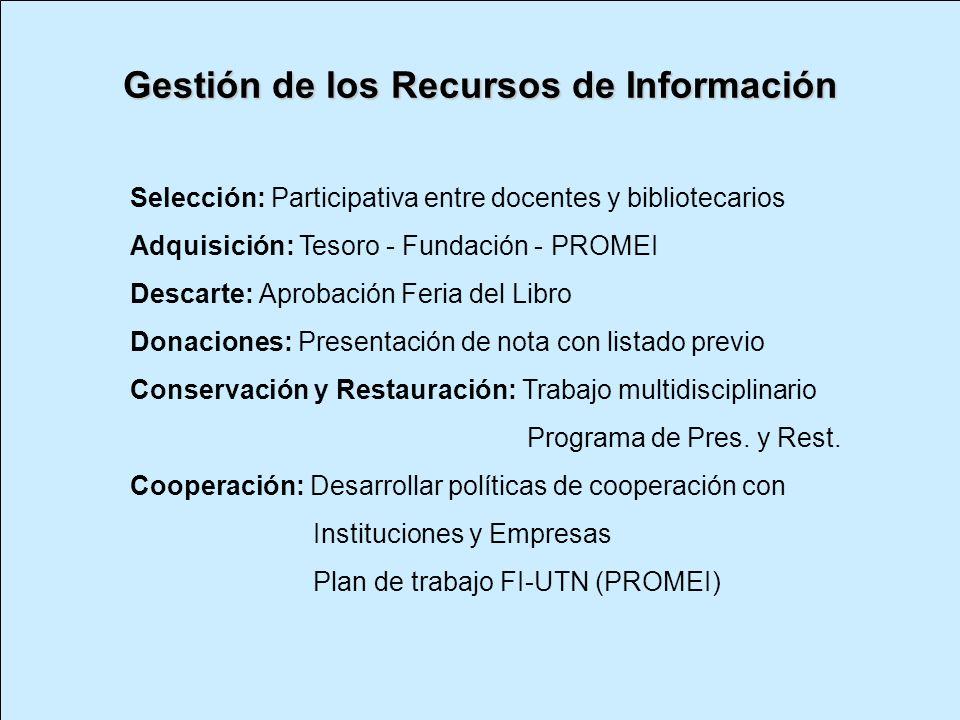 Gestión de los Recursos de Información Selección: Participativa entre docentes y bibliotecarios Adquisición: Tesoro - Fundación - PROMEI Descarte: Apr