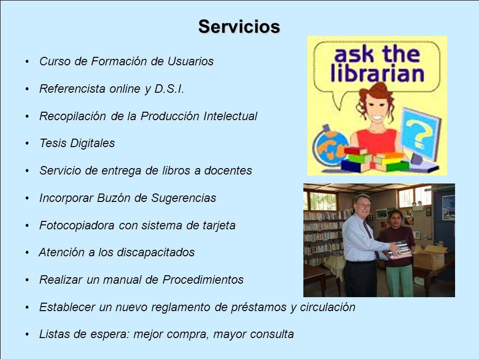 Servicios Curso de Formación de Usuarios Referencista online y D.S.I.