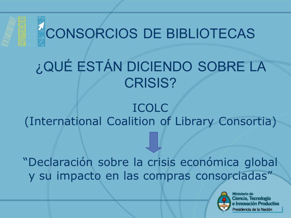 CONSORCIOS DE BIBLIOTECAS ¿QUÉ ESTÁN DICIENDO SOBRE LA CRISIS.