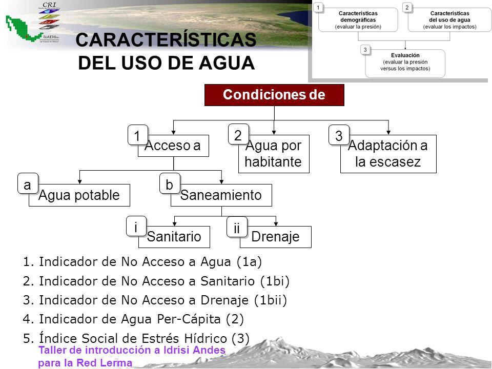 Taller de introducción a Idrisi Andes para la Red Lerma CARACTERÍSTICAS DEL USO DE AGUA Condiciones de Acceso a Agua potableSaneamiento SanitarioDrena