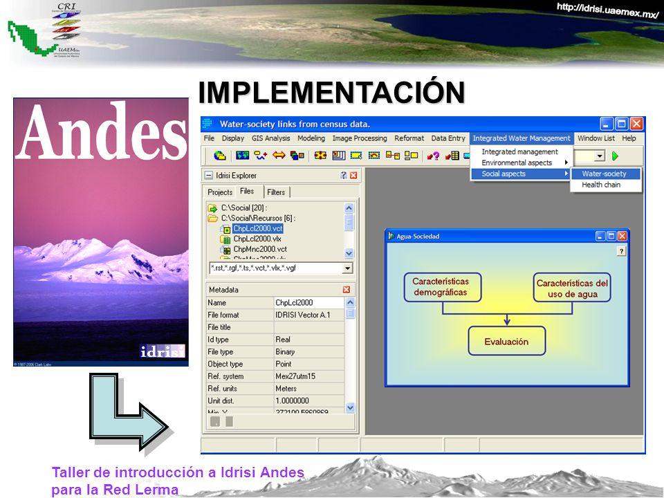 Taller de introducción a Idrisi Andes para la Red Lerma IMPLEMENTACIÓN