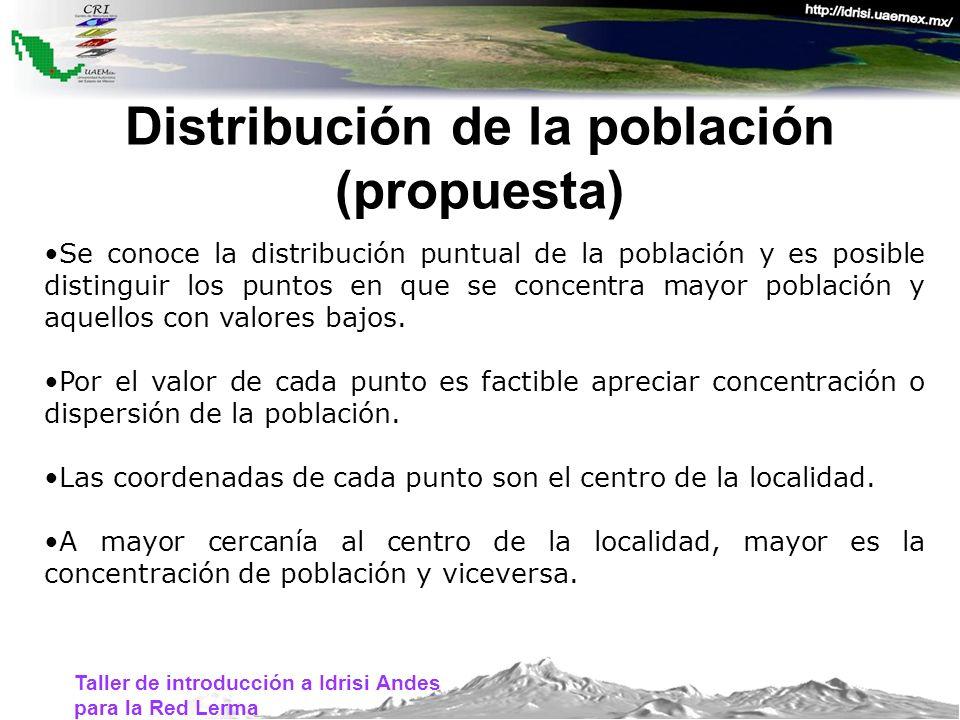 Distribución de la población (propuesta) Se conoce la distribución puntual de la población y es posible distinguir los puntos en que se concentra mayo