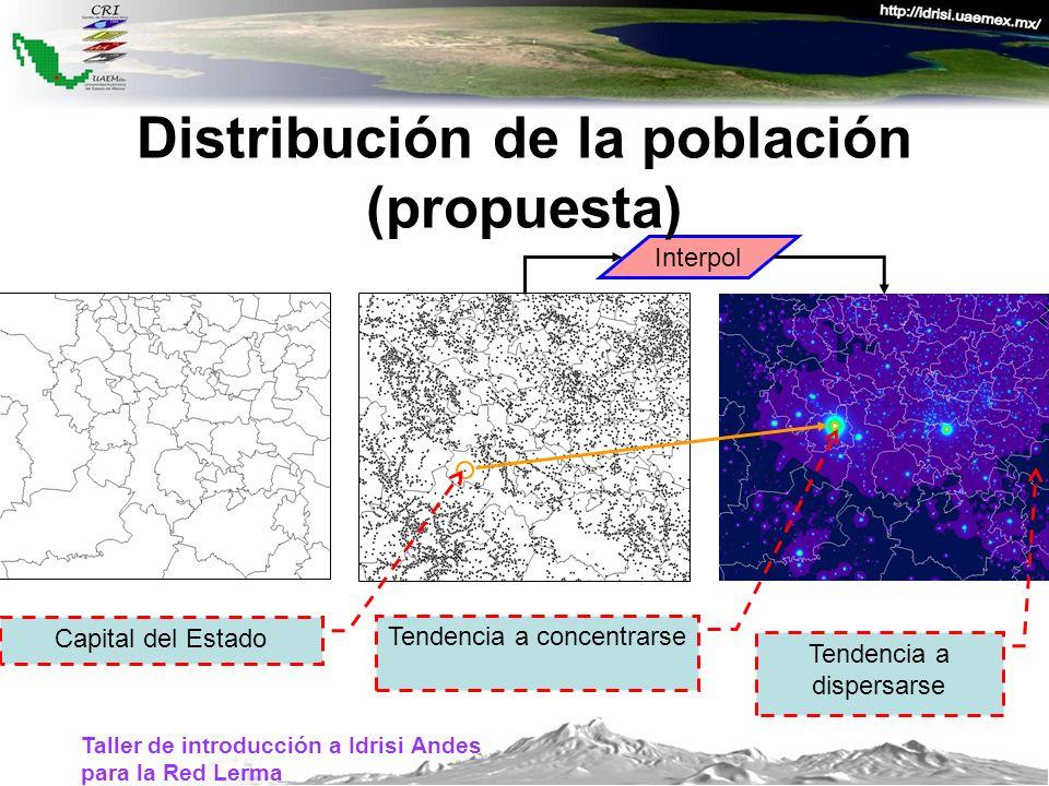 Taller de introducción a Idrisi Andes para la Red Lerma Interpol Tendencia a concentrarse Tendencia a dispersarse Capital del Estado Distribución de l