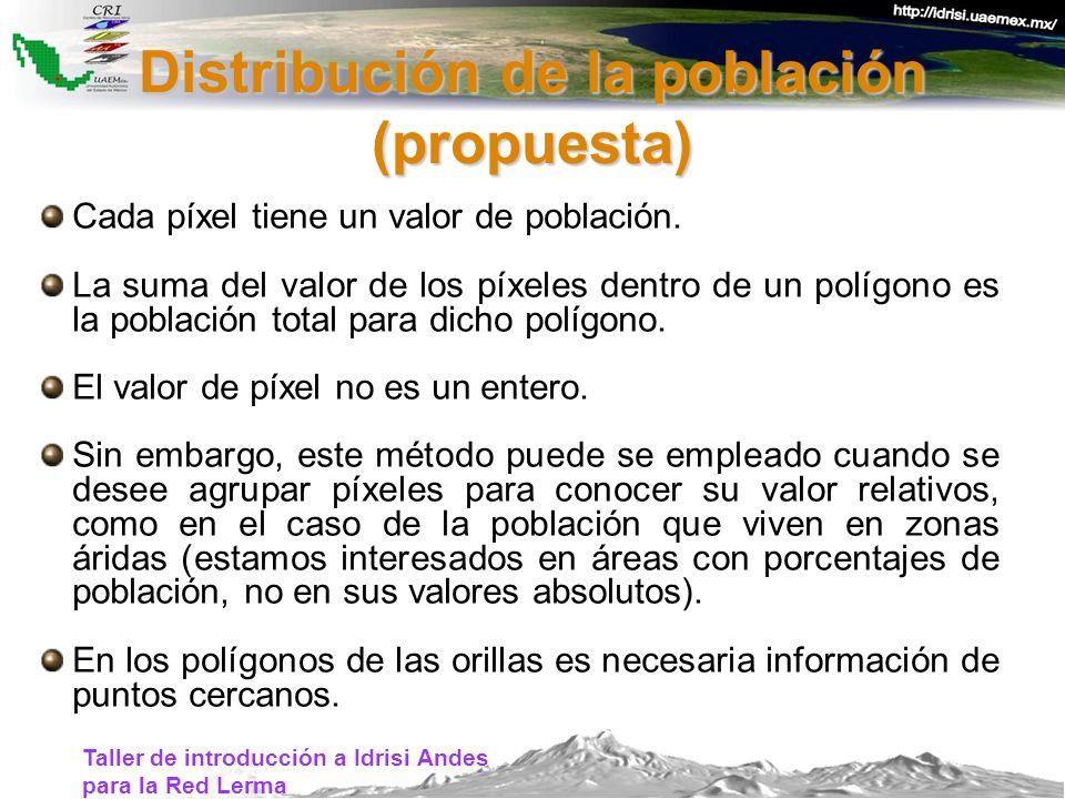 Taller de introducción a Idrisi Andes para la Red Lerma Cada píxel tiene un valor de población. La suma del valor de los píxeles dentro de un polígono