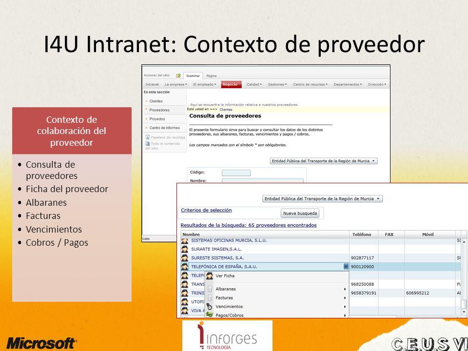 I4U Intranet: Contexto de proveedor Contexto de colaboración del proveedor Consulta de proveedores Ficha del proveedor Albaranes Facturas Vencimientos Cobros / Pagos