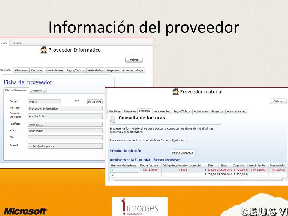 Información del proveedor