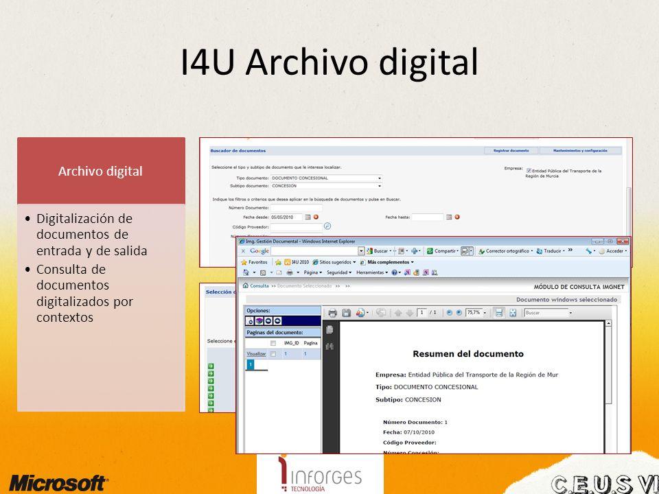 I4U Archivo digital Archivo digital Digitalización de documentos de entrada y de salida Consulta de documentos digitalizados por contextos