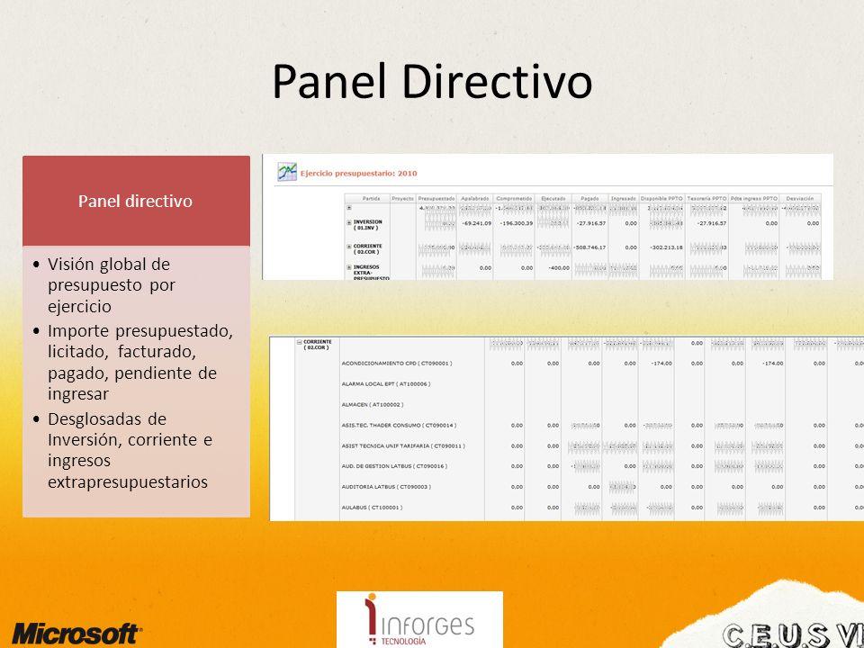 Panel Directivo Panel directivo Visión global de presupuesto por ejercicio Importe presupuestado, licitado, facturado, pagado, pendiente de ingresar Desglosadas de Inversión, corriente e ingresos extrapresupuestarios