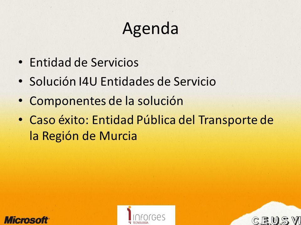 Agenda Entidad de Servicios Solución I4U Entidades de Servicio Componentes de la solución Caso éxito: Entidad Pública del Transporte de la Región de Murcia