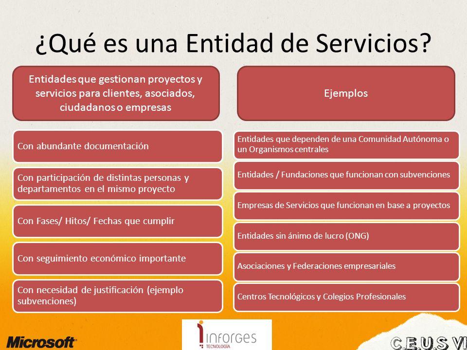 ¿Qué es una Entidad de Servicios? Con abundante documentación Con participación de distintas personas y departamentos en el mismo proyecto Con Fases/