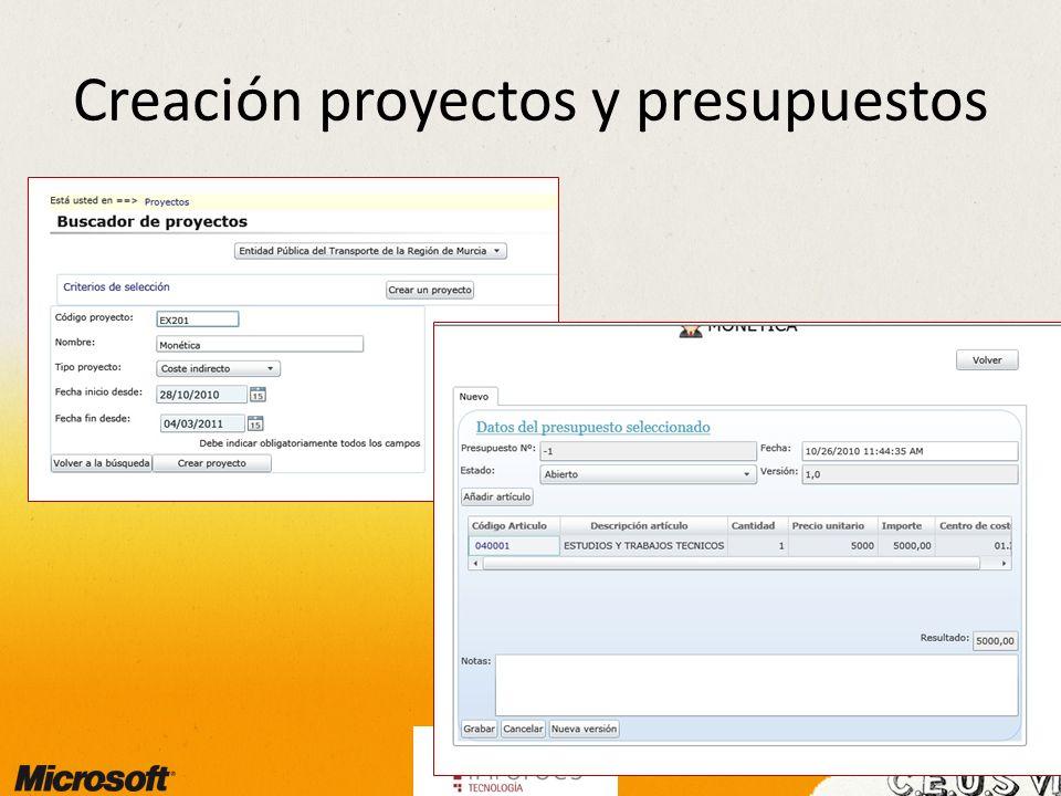 Creación proyectos y presupuestos