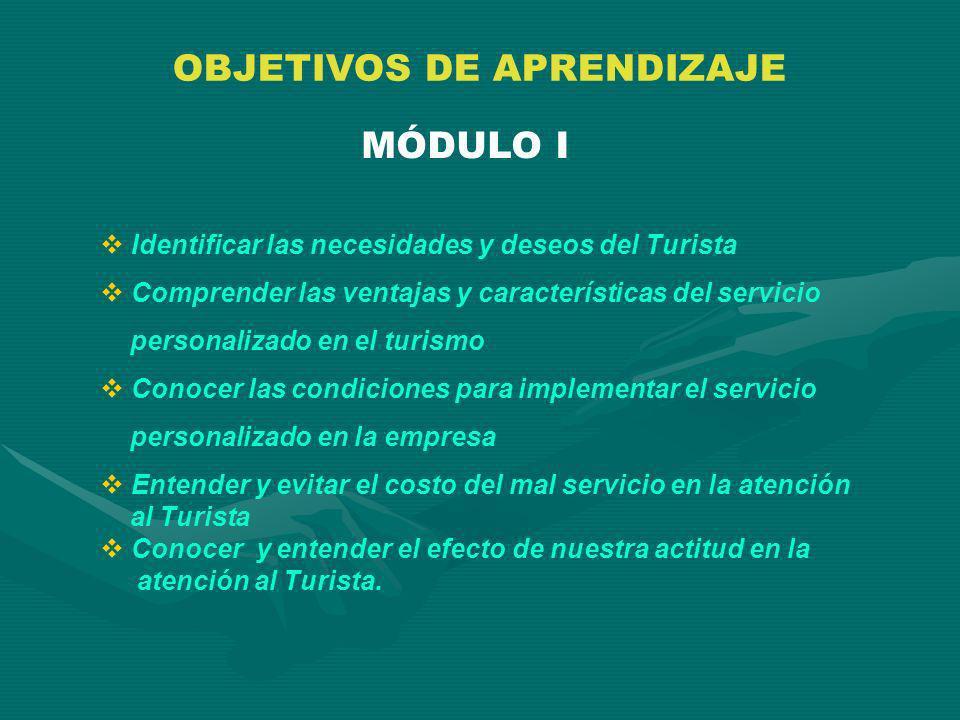 OBJETIVOS DE APRENDIZAJE MÓDULO I Identificar las necesidades y deseos del Turista Comprender las ventajas y características del servicio personalizad
