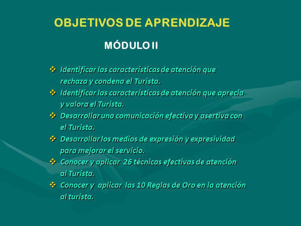 OBJETIVOS DE APRENDIZAJE MÓDULO II Identificar las características de atención que Identificar las características de atención que rechaza y condena el Turista.