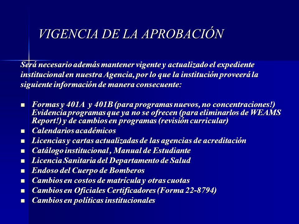 VIGENCIA DE LA APROBACIÓN Será necesario además mantener vigente y actualizado el expediente institucional en nuestra Agencia, por lo que la instituci