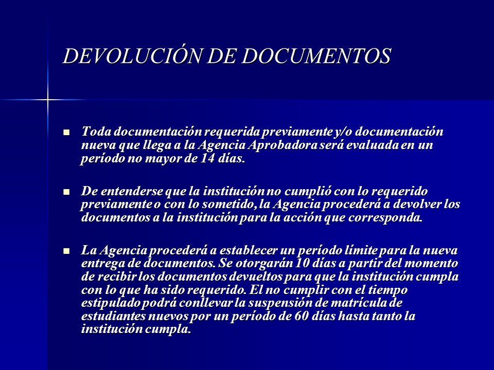 DEVOLUCIÓN DE DOCUMENTOS Toda documentación requerida previamente y/o documentación nueva que llega a la Agencia Aprobadora será evaluada en un períod