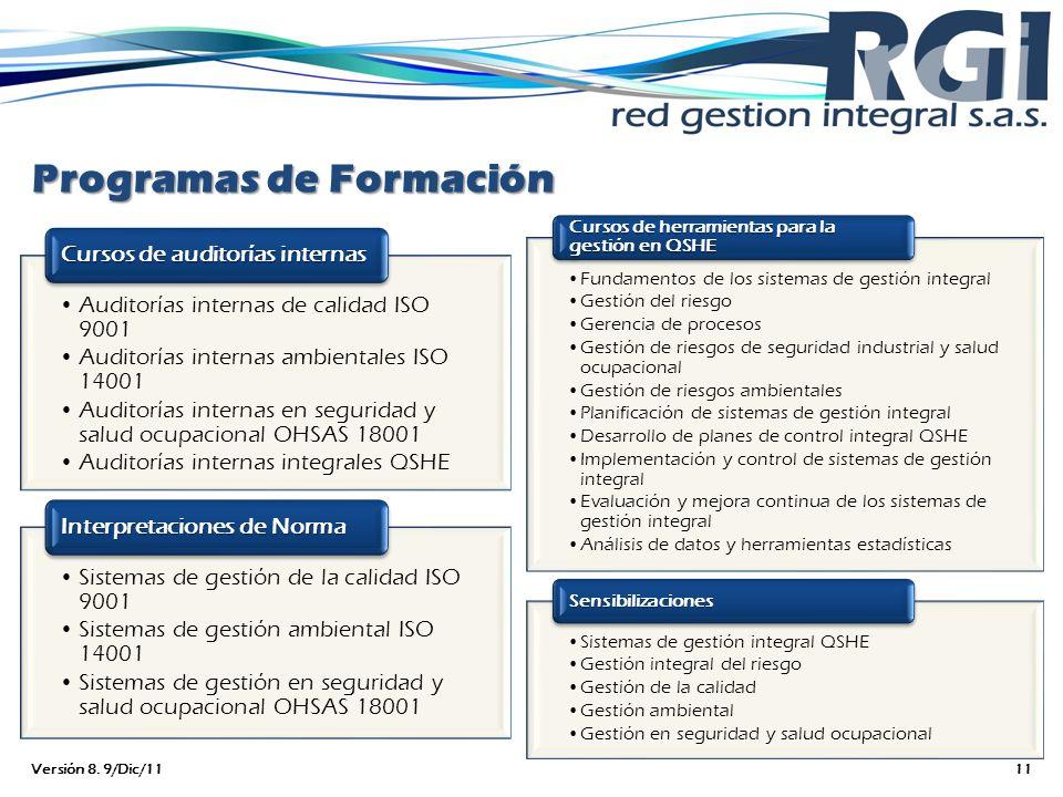 Programas de Formación Auditorías internas de calidad ISO 9001 Auditorías internas ambientales ISO 14001 Auditorías internas en seguridad y salud ocup