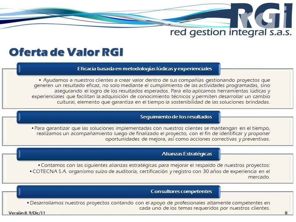 Oferta de Valor RGI Ayudamos a nuestros clientes a crear valor dentro de sus compañías gestionando proyectos que generen un resultado eficaz, no solo