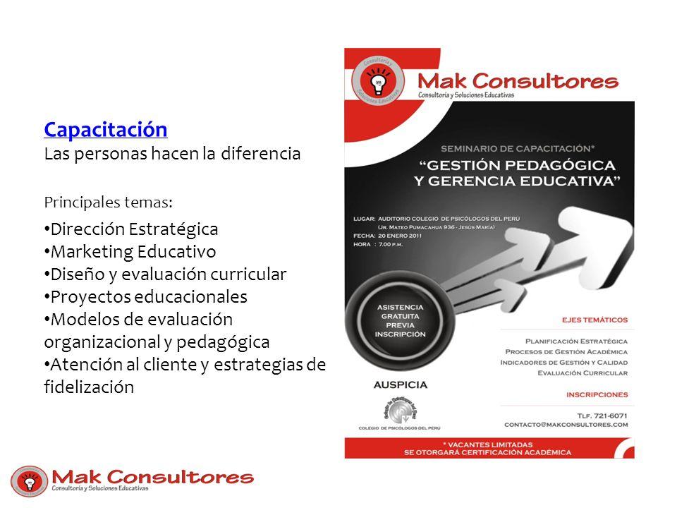 Capacitación Capacitación Las personas hacen la diferencia Principales temas: Dirección Estratégica Marketing Educativo Diseño y evaluación curricular