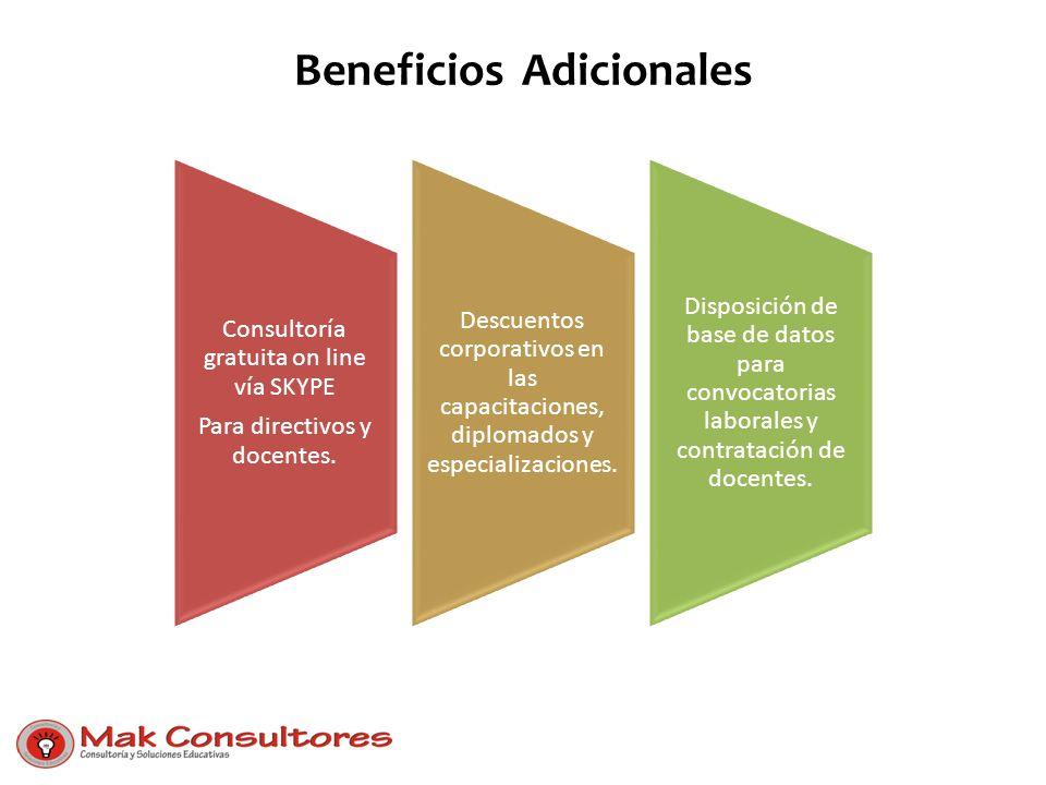 Beneficios Adicionales Consultoría gratuita on line vía SKYPE Para directivos y docentes. Descuentos corporativos en las capacitaciones, diplomados y