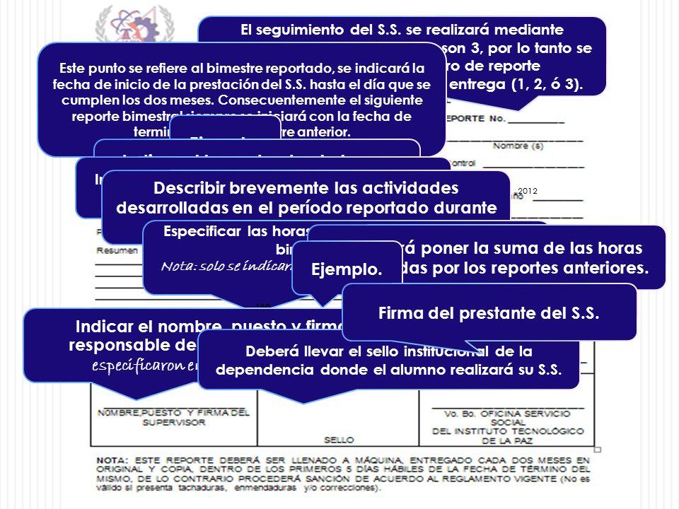 El seguimiento del S.S. se realizará mediante reportes bimestrales los cuales son 3, por lo tanto se debe de indicar el número de reporte correspondie