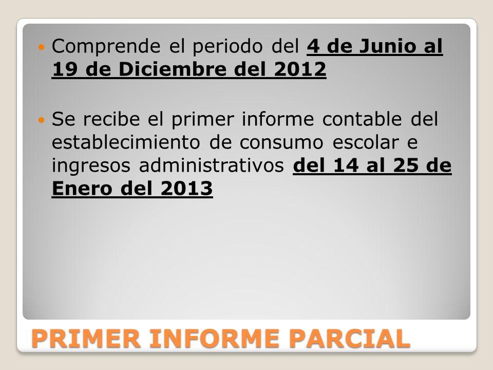 PRIMER INFORME PARCIAL Comprende el periodo del 4 de Junio al 19 de Diciembre del 2012 Se recibe el primer informe contable del establecimiento de consumo escolar e ingresos administrativos del 14 al 25 de Enero del 2013