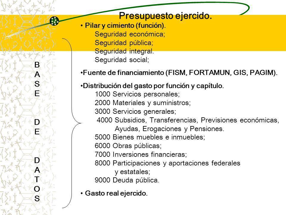 Presupuesto ejercido.BASEDEDATOSBASEDEDATOS Pilar y cimiento (función).