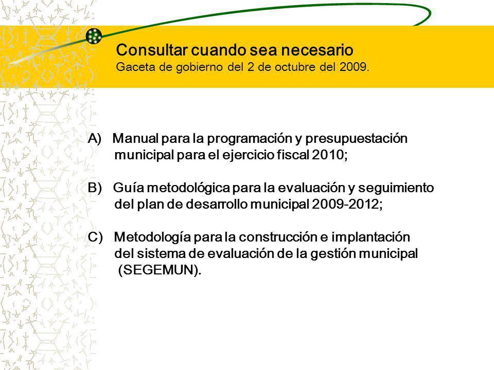 Consultar cuando sea necesario Gaceta de gobierno del 2 de octubre del 2009.